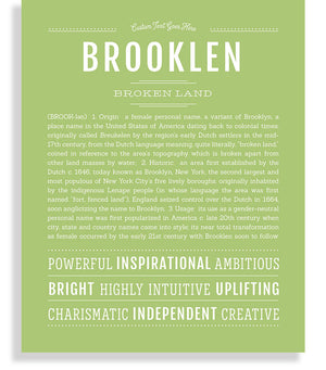 Brooklen Classic name print light green