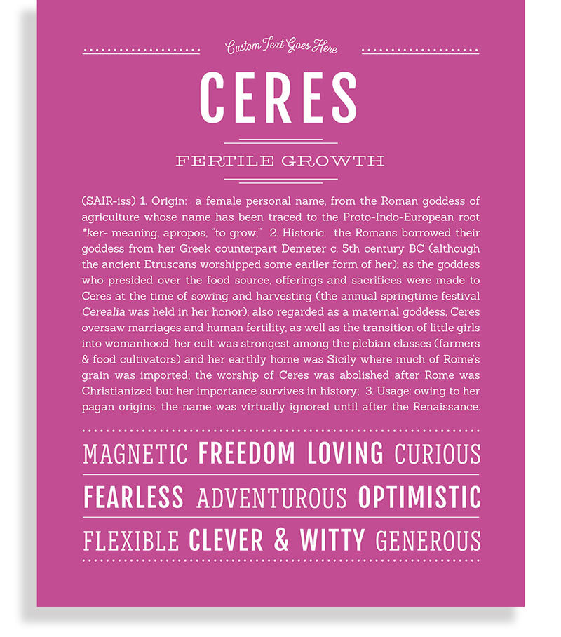 Ceres | Classic Name Print - Name Stories