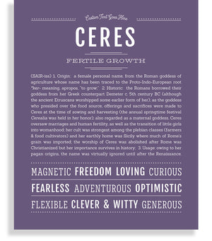 Ceres Classic name print deep purple