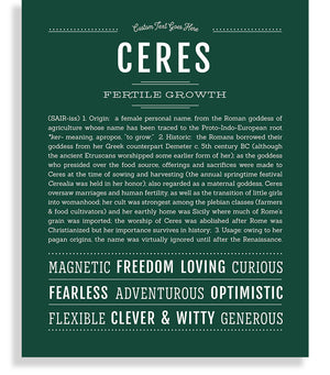 Ceres Classic name print hunter green