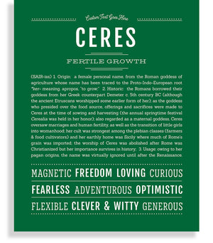 Ceres Classic name print emerald green