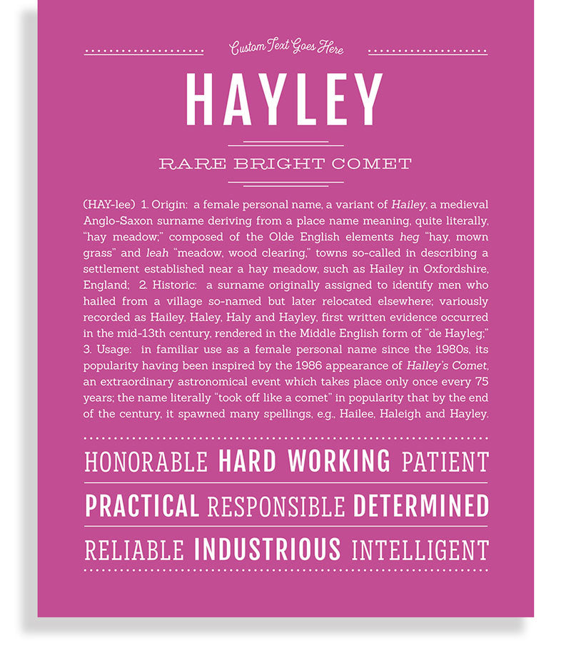 Hayley Classic name print dark pink