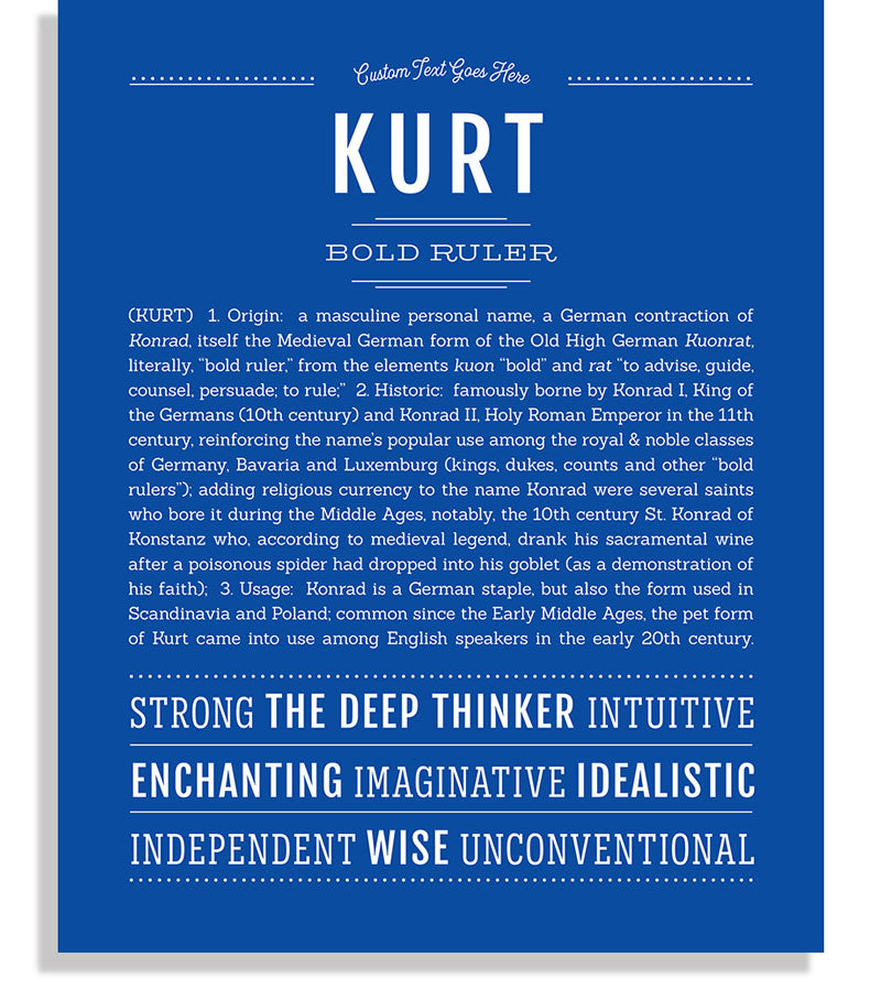 Kurt Classic name print royal blue