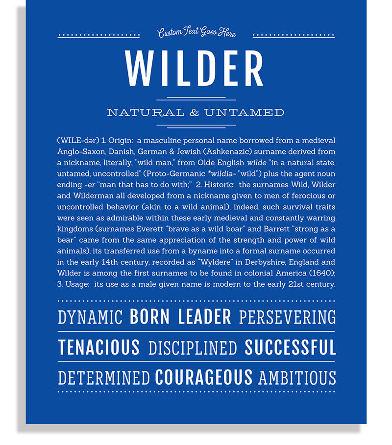 Wilder Male Name Art Print