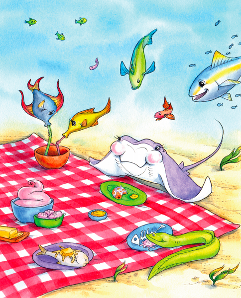 Undersea life was never so cute! Join the stingray, eels, and other fish as they picnic undersea!