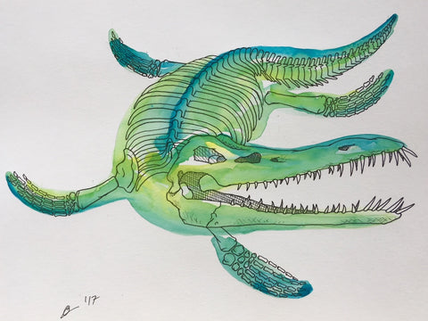 Liopleurodon Watercolor Original