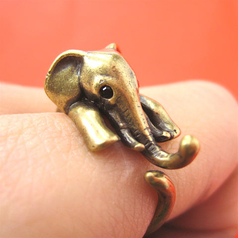 Elephant Wrap Ring Yellow Bronze