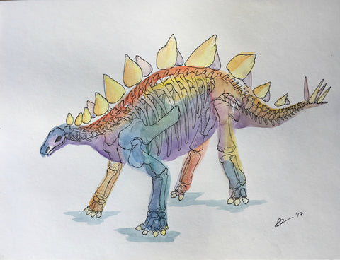 Stegosaurus Watercolor Original