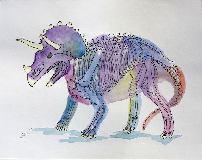 Triceratops Watercolor Original