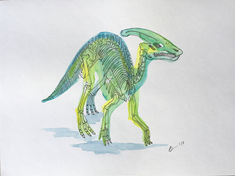 Parasaurolophus Watercolor Original