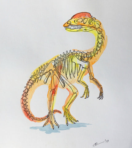 Dilophosaurus Watercolor Original