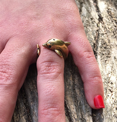 Dolphin Wrap Ring Yellow Bronze