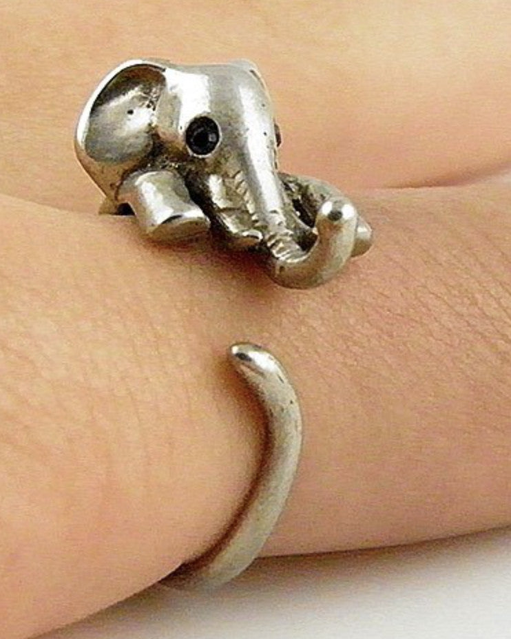 Elephant Wrap Ring White Bronze