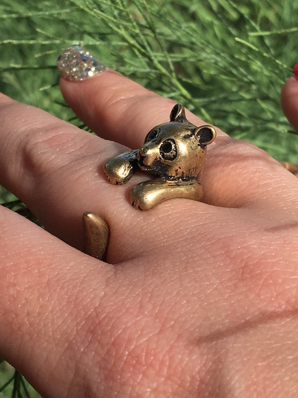 Panda Wrap Ring Yellow Bronze
