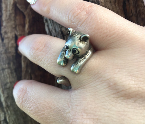 Panda Wrap Ring White Bronze