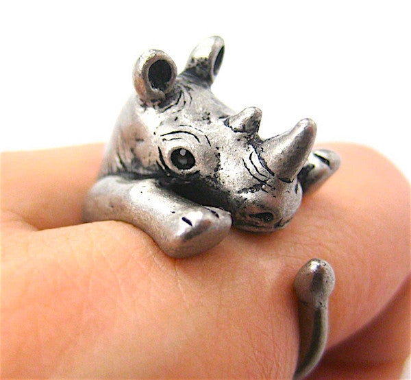 Rhino Wrap Ring White Bronze