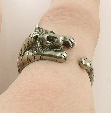 Tiger Wrap Ring White Bronze