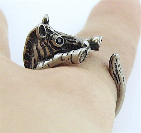 Zebra Wrap Ring White Bronze