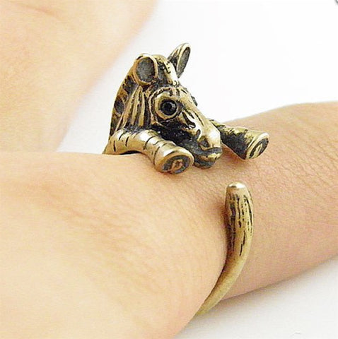 Zebra Wrap Ring Yellow Bronze
