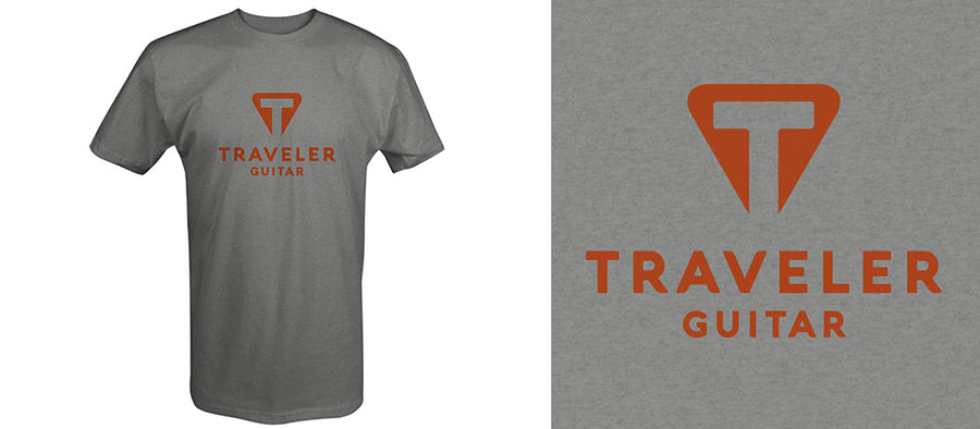 Load image into Gallery viewer, Traveler Guitar Heather Ash Logo Shirt