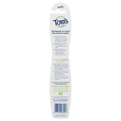 Tom's of Maine Whole Care Toothbrush, Toothbrushes, Natural Toothbrush, Soft Single, 4-Pack