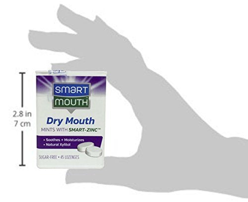 SmartMouth Dry Mouth Mints with Smart-Zinc, Moisturizes and Freshens Breath, Sugar Free, 4 Pack