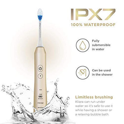 Kliara Electric Sonic Toothbrush for Adults | Rechargable & Waterproof | Fastest Motor in the Market 48.000 BPM | Longest 40-Day Battery | 4 Replacement Heads for 1 Year of Brushing Included | GOLD