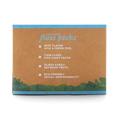 Natural Dental Floss Picks - 200 Count - BPA Free, Vegan, Sustainable, Eco Friendly, Natural Dental Flossers by Isshah (Mint)
