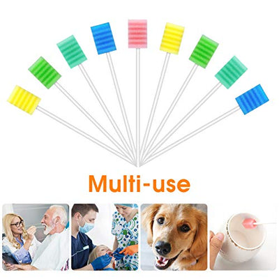 250 Pcs Oral Swabs-Unflavored & Sterile Disposable Dental Swabsticks for Mouth Cleaning- Individually Wrapped (Dental 5 Colors)