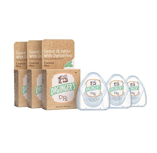 Dr. Ginger's All Natural Coconut Oil & White Characoal Dental Floss | Powerful Combination of Organic Coconut Oil, Xylitol & Deep Cleaning White Charcoal | Great Taste, No Harmful Chemicals | 3 Pack