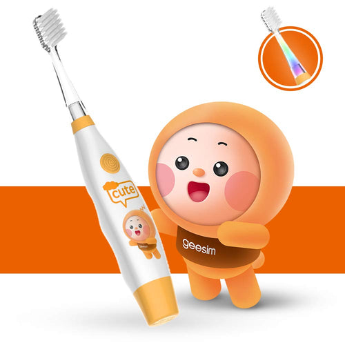 Baby Electric Toothbrush Sonic Toothbrush babies Battery Powered kids Tooth Brush with LED Light and Smart Timer Waterproof Replaceable Deep Clean For kids&baby-Baby Tooth brush (ORANGE)