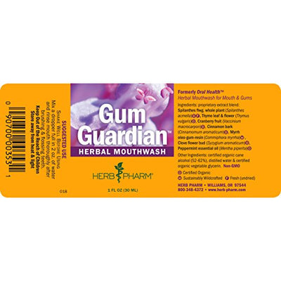 Herb Pharm Gum Guardian Herbal Mouthwash for Healthy Mouth and Gums - 1 Ounce