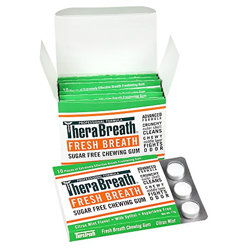TheraBreath Fresh Breath Chewing Gum with ZINC, Citrus Mint Flavor, 10 Count (Pack of 6)