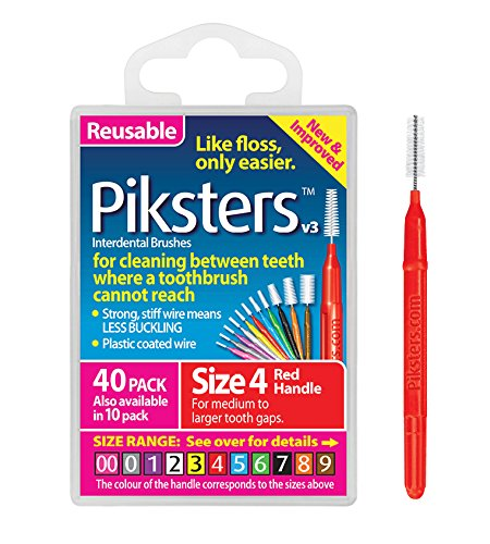 Piksters Interdental Brushes (40 Pack, Size 4 (Red))