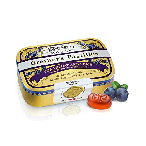 Grether's Pastilles Sugar Free Formula for Dry Mouth and Sore Throat Relief, Blueberry, 3.75 oz. Box