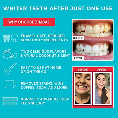 ZIMBA Teeth Whitening Strips - Mint - Zimba Whitening Strips - Teeth Whitening Sensitive Teeth - White Strips Teeth Whitening - Best Teeth Whitener - Natural Whitening Strips - 28 Strips - 14 Uses