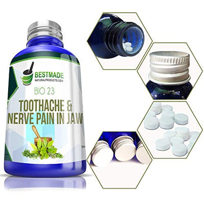 Toothache & Nerve Pain in Jaw Bio23, 300 pellets, for Relief of Trigeminal Neuralagia Associated Muscle Spasms, Painful Cavities, Tooth Sensitivity and Pain After Dental Work