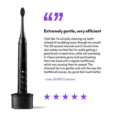 BURST Sonic Electric Toothbrush with Charcoal Toothbrush Head, Black