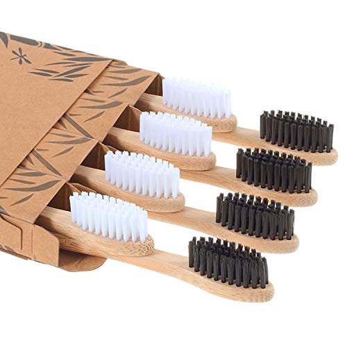 Bamboo Toothbrush - Comfine Biodegradable Reusable Soft Toothbrush,  Made of Natural Bamboo and Environmentally Friendly BPA-Free Bristles, 8 Pack