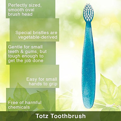 RADIUS Toddler Toothbrush Totz Brush, Extra Soft - 3 Pack in Assorted Colors, BPA Free and ADA Accepted, Designed for Delicate Teeth and Gums, For Children 18 Months and Up