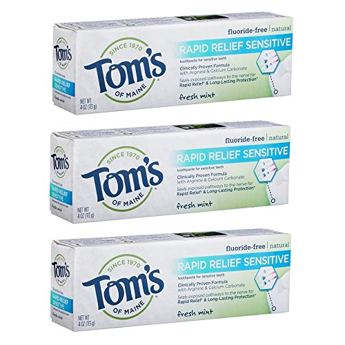 Tom's of Maine Rapid Relief Sensitive Natural Toothpaste Multi Pack, Fresh Mint, 3 Count