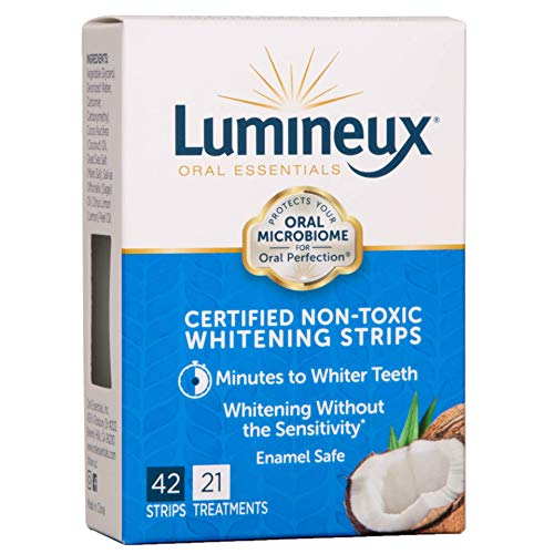Lumineux Oral Essentials Teeth Whitening Strips | 21 Treatments, 42 Strips | Certified Non Toxic | Sensitivity Free | Whiter Teeth 7 Days | NO Artificial Flavors, Colors, SLS Free, Dentist Formulated