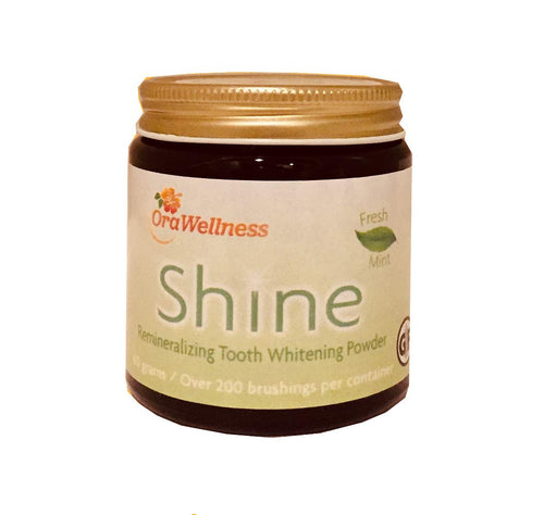 OraWellness Shine Remineralizing Natural Teeth Whitening Powder, Tooth Stain Remover and Polisher With Kaolin Clay Powder, Fresh Mint