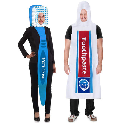 Tigerdoe Toothbrush and Toothpaste Costume - 2 Pc Set - Couples Costumes - Halloween Dress Up - Funny Costumes