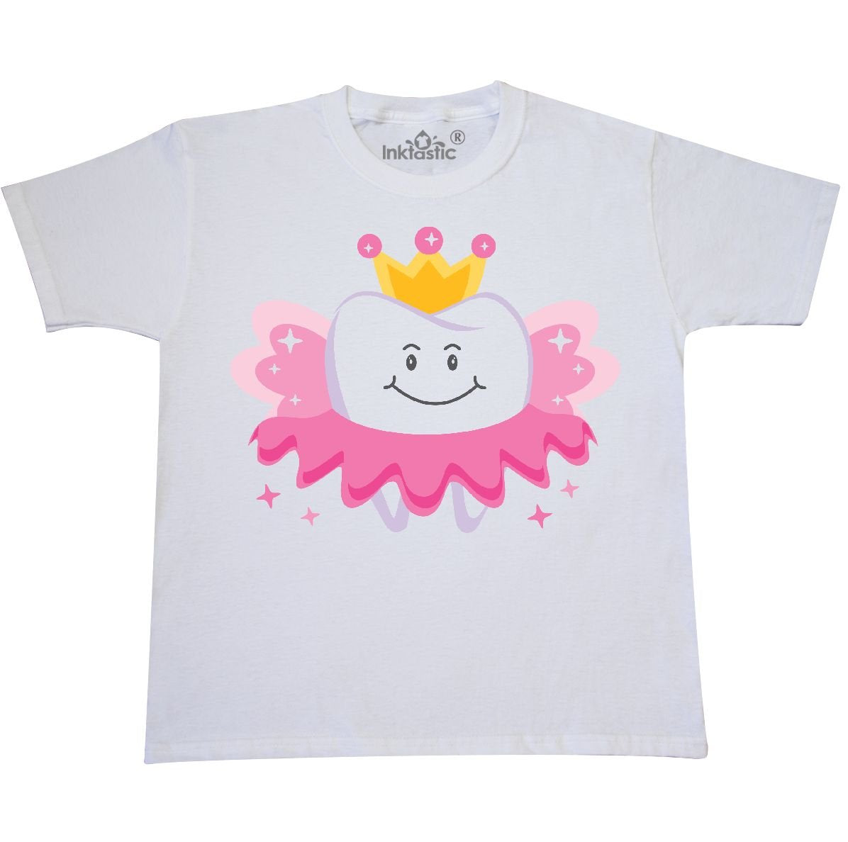 inktastic - Tooth Fairy Girls Pink Youth T-Shirt Youth Small (6-8) White f7db