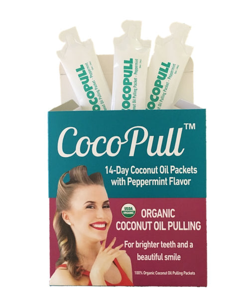 CocoPull Organic Coconut Oil Pulling Natural Teeth Whitening - 14 Unrefined Coconut Oil Pulling Packets With Organic Peppermint Oil - Natural Oral Care And Bad Breath Remedy