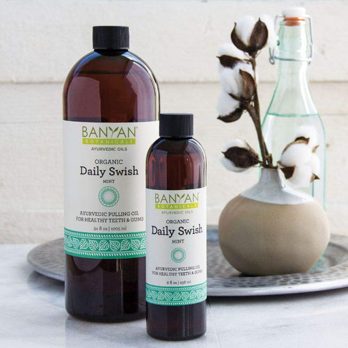 Banyan Botanicals Organic Daily Swish Mint - 34 oz - Ayurvedic Oil Pulling Mouthwash Oil for Oral Health and Detoxification - Coconut Oil Blend for Healthy Teeth and Gums