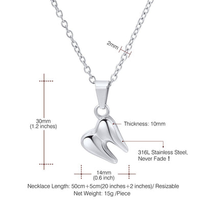 U7 Mini Tooth Necklace Stainless Steel Dental Jewelry Tiny Small Teeth Pendant Necklaces