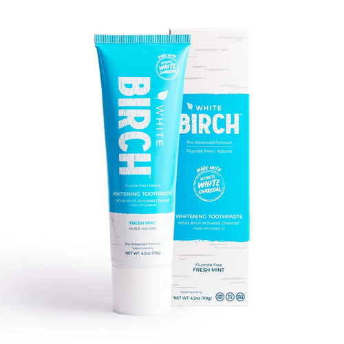 White Birch Activated White Charcoal Teeth Whitening Toothpaste - Natural And Fluoride Free Oral Care - Fresh Mint - 4.2 oz.
