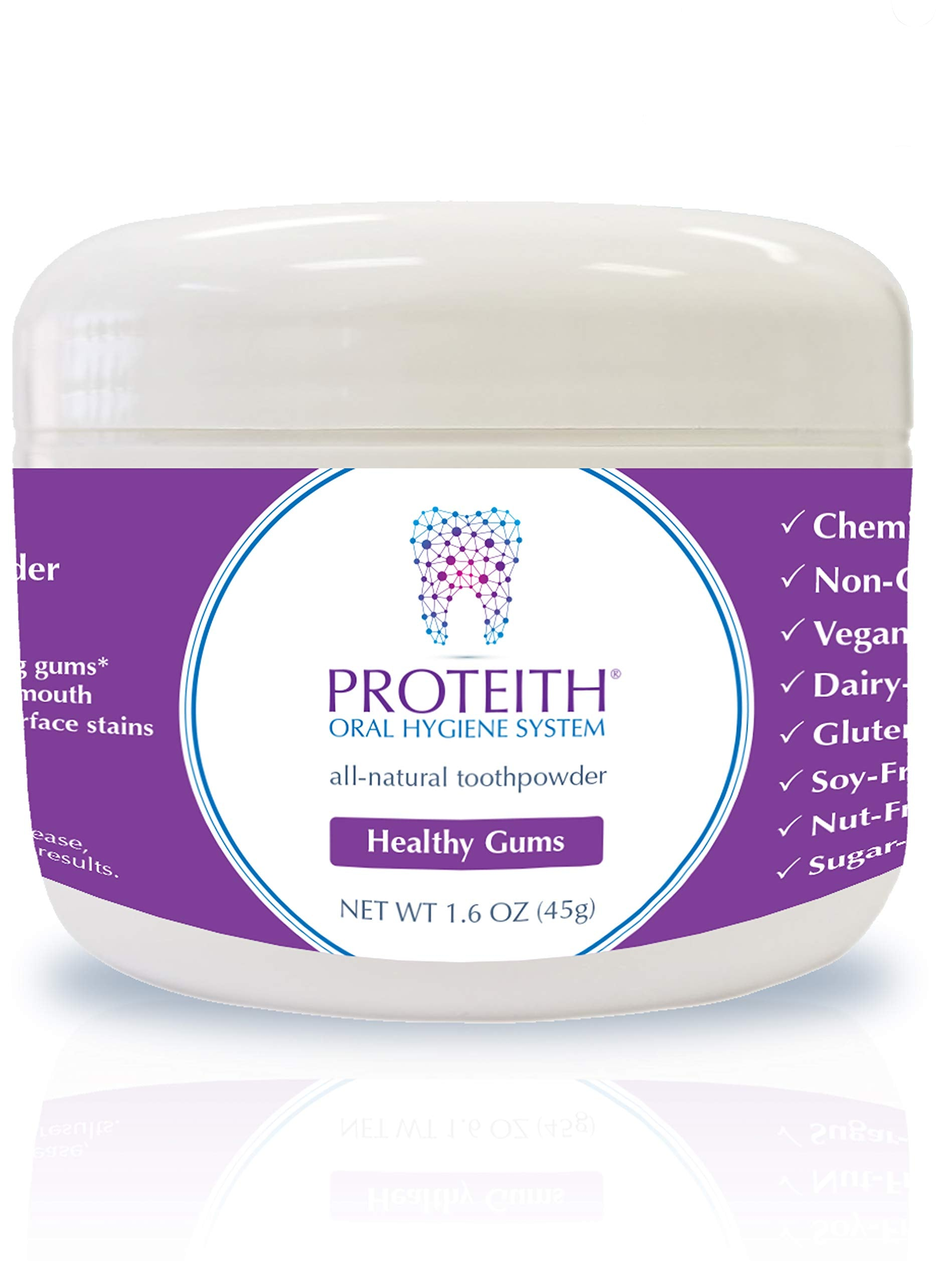 PROTEITH Oral Hygiene System for Healthy Gums - All-Natural Toothpowder - 1.6oz